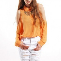 Open Shoulder Chiffon Button Down in Orange