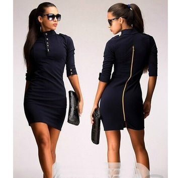 New Womens Ladies Elegant Office Bodycon Evening Party Pencil Dresses Mini Dress = 1956798468