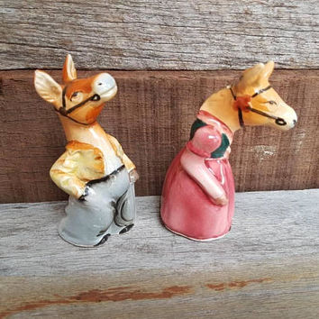Vintage Horses Salt and pepper shakers , Mr And Mrs Horse Or Donkey  , Kitchen Decor , Made In Japan