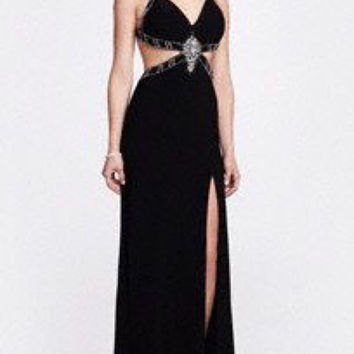 Davids Bridal black open Prom dress
