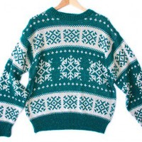 Teal & White Snowflake Tacky Ugly Ski Sweater Men's Size XL $22 - The Ugly Sweater Shop