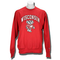 Champion Printed Wisconsin Crew Neck Sweatshirt (Red)