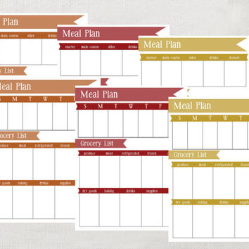 INSTANT Meal Planner- Fall Colors- PDF 8.5 x 11 daily and weekly meal plan printable- 6 pages