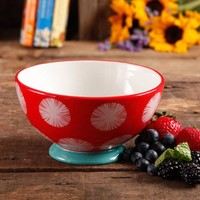 "The Pioneer Woman Flea Market 6"" Decorated Footed Bowls, Red Dot Teal (Available in Set of 4 or Single) - Walmart.com"
