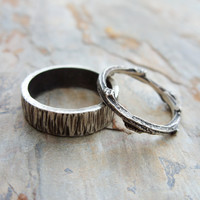 Matching Tree Bark and Twig Wedding Band Set in Sterling Silver Wood Grain