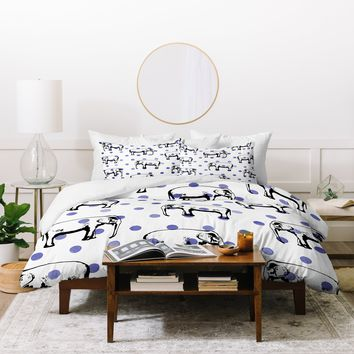Natalie Baca Polka Dots And Big Ears Duvet Cover