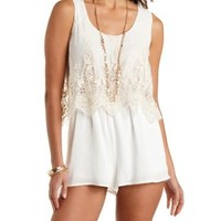 Ivory Embroidered Mesh Flounce Romper by Charlotte Russe