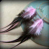"Pink and Black Feather Earrings - Goth, Rave, Punk, Steampunk Feather Earrings - Black and Bubblegum Pink 5"" Feather Earrings"