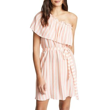 One-shoulder summer short dress women Sweet pink stripe ruffles mini dress Bow high waist wrap dress office lady