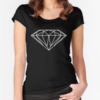 Diamond T-shirt - Black Fitted Scoop Neck Women's Tshirt - Cotton Tshirt - Bloom Bloom Wear
