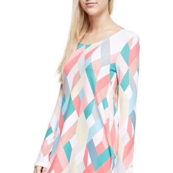 Geometric Print Long Sleeve Dress - Coral