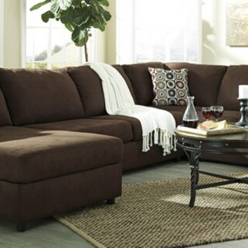 Ashley Furniture 64904-67-34-16 3 pc jayceon collection java fabric upholstered sectional sofa set with rounded arms