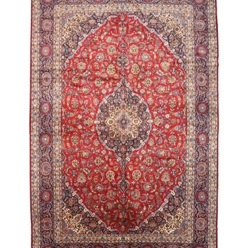 EORC Hand-knotted Wool Red Traditional Oriental Medallion Kashan Rug