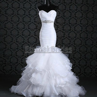 Sweetheart Neckline Organza Ruched Bodices Beaded Waist with Layers Organza Trumpt Skirt Corset