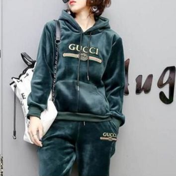 One-nice™ Gucci Hoodie Top Sweater Pullover Pants Trousers Set Two-Piece Sportswear Green