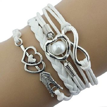 Doinshop New Infinity Chain Cuff Jewelry Antique Leather Charm Bracelet