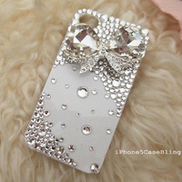 iPhone 4 Case, iPhone 4s case, iPhone 5 Case, Bling iPhone 4 case, iPhone 5 bling case, White iPhone 4 case, iPhone 5 case bow, case iphone4