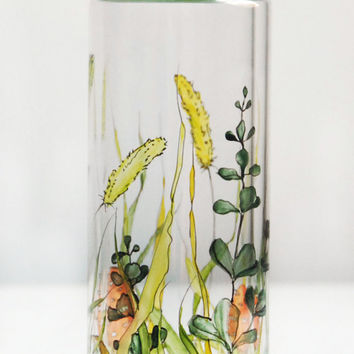 Water Bottle with Lid - Shrooms and Grass Collection - made to order