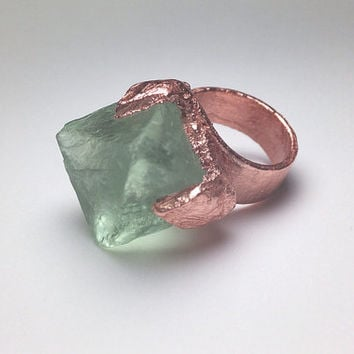 Size 4 Copper Plated Octahedron Fluorite Ring- FREE SHIPPING