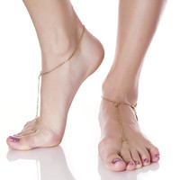 SIMPLY SEXY Gold Barefoot Sandals