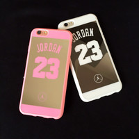 Luxury Fashion Jordan 23 Lovers Couple Silicon Soft mirror Phone Case Cover Coque Fundas Capa for iphone 5 5s 6 6s 6 plus 6s