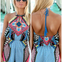 Fiji High Neck Keyhole Tribal Print Romper