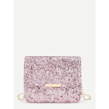 Metal Detail Sequin Flap Bag With