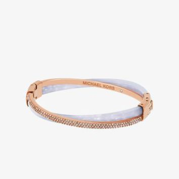 Pavé Rose Gold-Tone Wisteria Bangle | Michael Kors