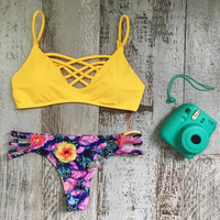 Sexy Yellow Floral Bikini Set Beachwear Swimsuits Two Piece +Free Summer Gift Necklace