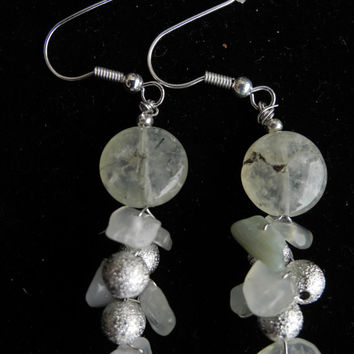 green fluorite earrings, handmade beaded gemstone semi precious dangle earrings of light green fluorite and silver, 925 silver earhooks