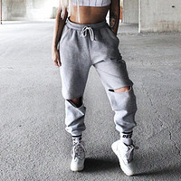 Women Hole Pants Casual Sweatpants Loose Harem Pants Trousers Women Joggers 2017 Spring Autumn Women Clothes