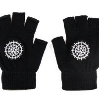 Anime Black Butler Pattern Knitted Half-finger Gloves