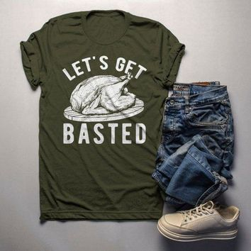 Men's Funny Thanksgiving T Shirt Let's Get Basted Turkey Shirts Graphic Tee Vintage Design