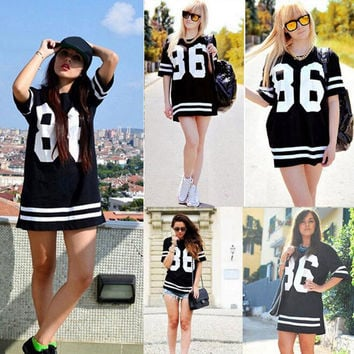 8c6a2749 America Baseball Super Mini T Shirt Dress for Women Letter 86 Print Dashiki Dress  Female Plus