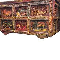 Antique Indian Tribal Chest Carved Sideboard Reclaimed Colorful Damachiya