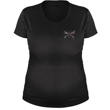 Embroidered Rhinestone Butterfly (Pocket Print) Maternity Pregnancy Scoop Neck T-Shirt