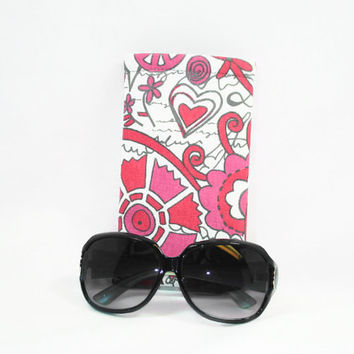 Pink Mod Print Sunglasses Case Hot Pink Print Case for Large Sunglasses Sleeve Style Sunglasses Holder