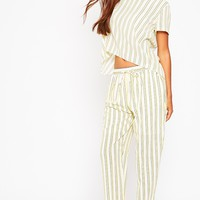 Kali Cream Stripe Trousers - Trousers - PrettylittleThing   PrettyLittleThing.com