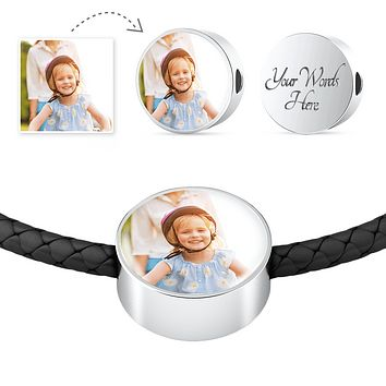 Personalized Photo Create-Your-Own Leather Woven Circle Charm Bracelet