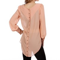 Blush Studded Cuff Top