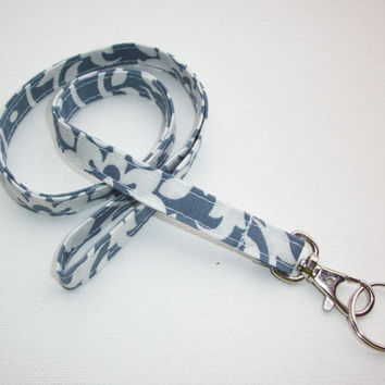 Lanyard ID Badge Holder - gray damask - Lobster clasp and key ring
