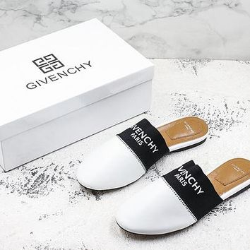 Givenchy Paris Leather Mules White Flat Slide Slippers - Best Deal Online