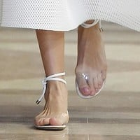 Summer Women Sandal White Transparent Flats Sandals