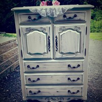 Shabby Old White Tall Dresser/ Wardrobe