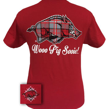 New Arkansas Razorbacks Plaid Hogs Logo Girlie Bright T Shirt