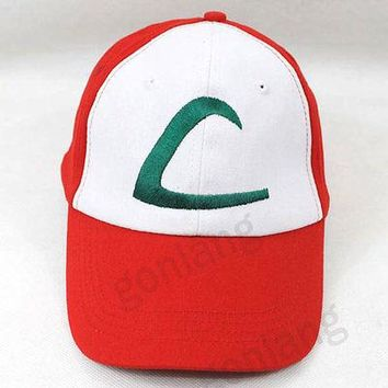 New Anime Pokemon Figure ASH KETCHUM trainer costume cosplay hat cap