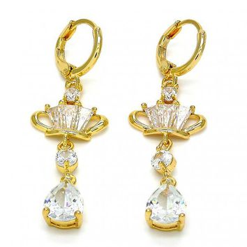 Gold Layered Long Earring, Crown and Teardrop Design, with Cubic Zirconia, Gold Tone