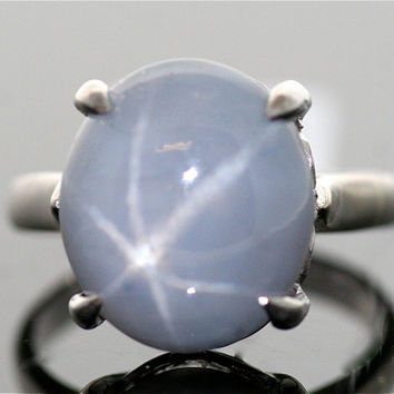 Antique Star Sapphire Blue Gray Star Sapphire by SITFineJewelry