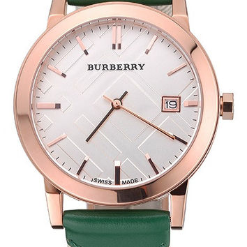 Burberry The City Classic Silver Dial Green Bracelet 622564