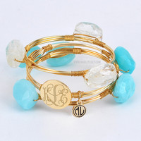 Monogrammed Aqua Wire and Stone Bangle Set | Bracelets | Marley Lilly